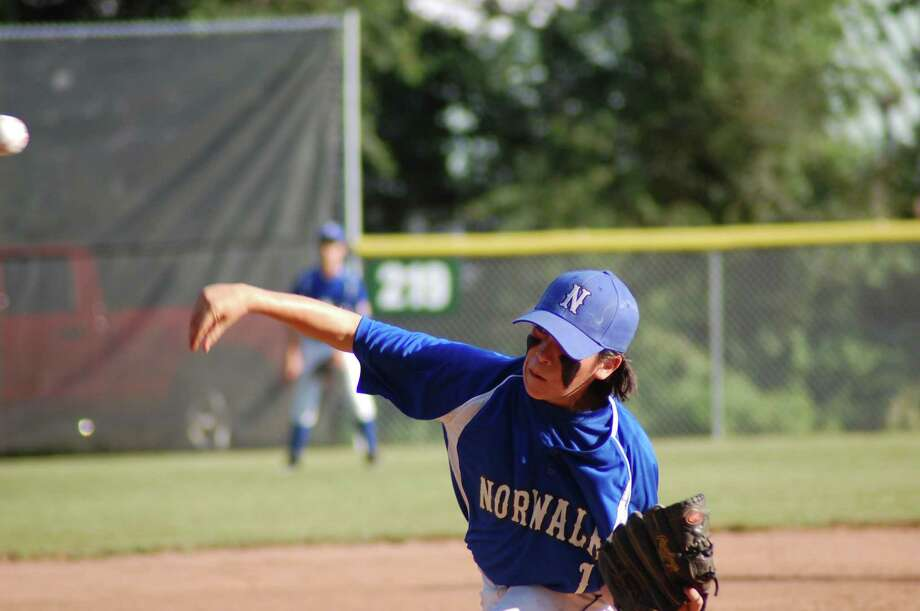Norwalk right-hander Brendan Huertes pitches for the Norwalk Cal Ripken 12-year-old all-star team in a 6-2 loss to Coventry in the loser's bracket elimination game on Tuesday July 10, 2012 at Pullan Field at Mitchell Park in Bethel. Photo: Doug Bonjour