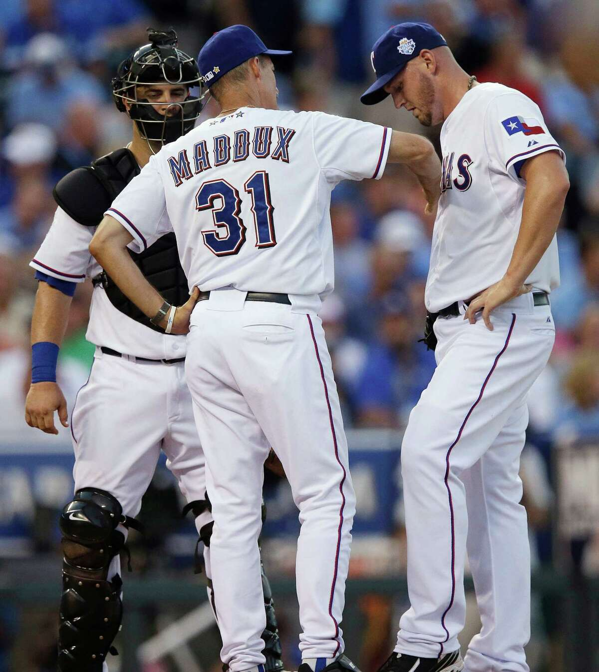 Matt Harrison (right) of the Rangers didn't help the American League's effort in Tuesday's all-star game by giving up three runs in the fourth.