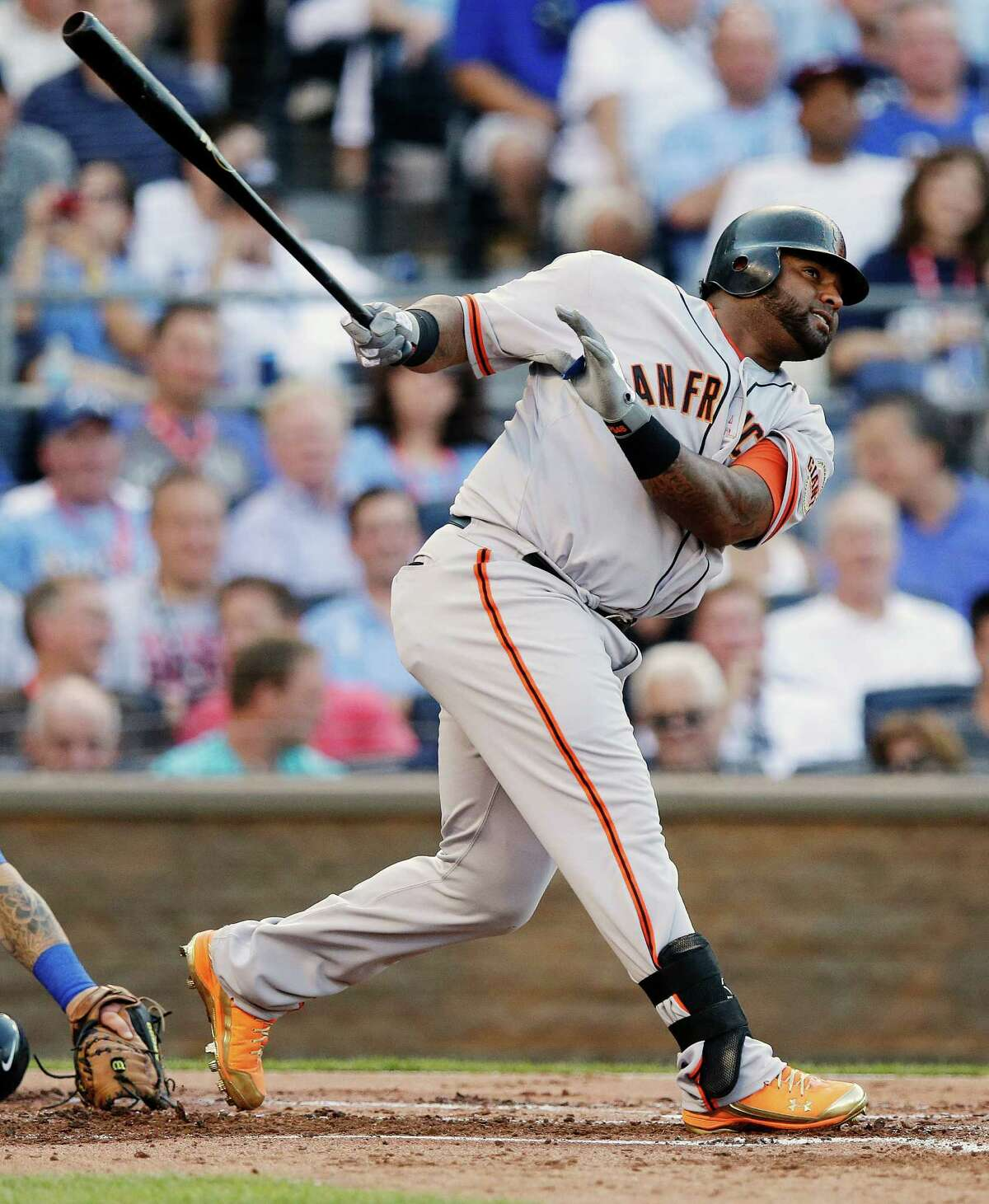 The Giants' Pablo Sandoval had a bases-loaded triple in the first that was key in helping the National League set the stage for a blowout win.