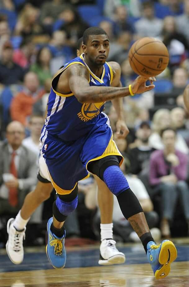 FILE - In this April 4, 2012, file photo, Golden State Warriors' Dorell Wright vies for the ball during the second half of an NBA basketball game against the Minnesota Timberwolves in Minneapolis. A person familiar with the decision says the Warriors have agreed to trade Wright to the Philadelphia 76ers for the rights to a player currently in Europe. (AP Photo/ Jim Mone, File) Photo: Jim Mone, Associated Press
