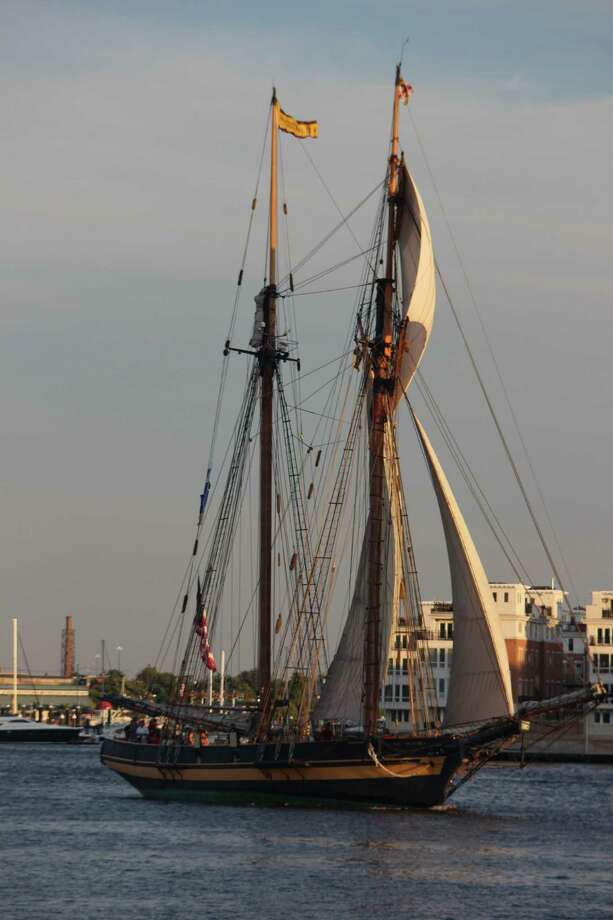 Lisa Schneider A tall ship gracefully enters Baltimore's Inner Harbor.