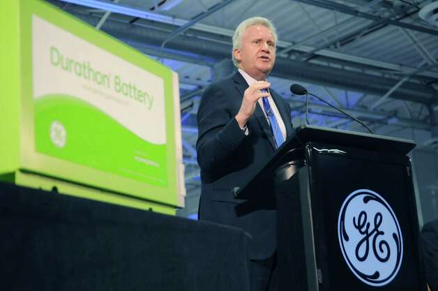 Jeffrey Immelt, GE chairman and CEO, addresses those gathered at the opening of the company's new battery plant on Tuesday, July 10, 2012 at the GE campus in Schenectady, NY.  The plant will use GE's durathon battery technology in manufacturing  batteries for industry.  (Paul Buckowski / Times Union) Photo: Paul Buckowski