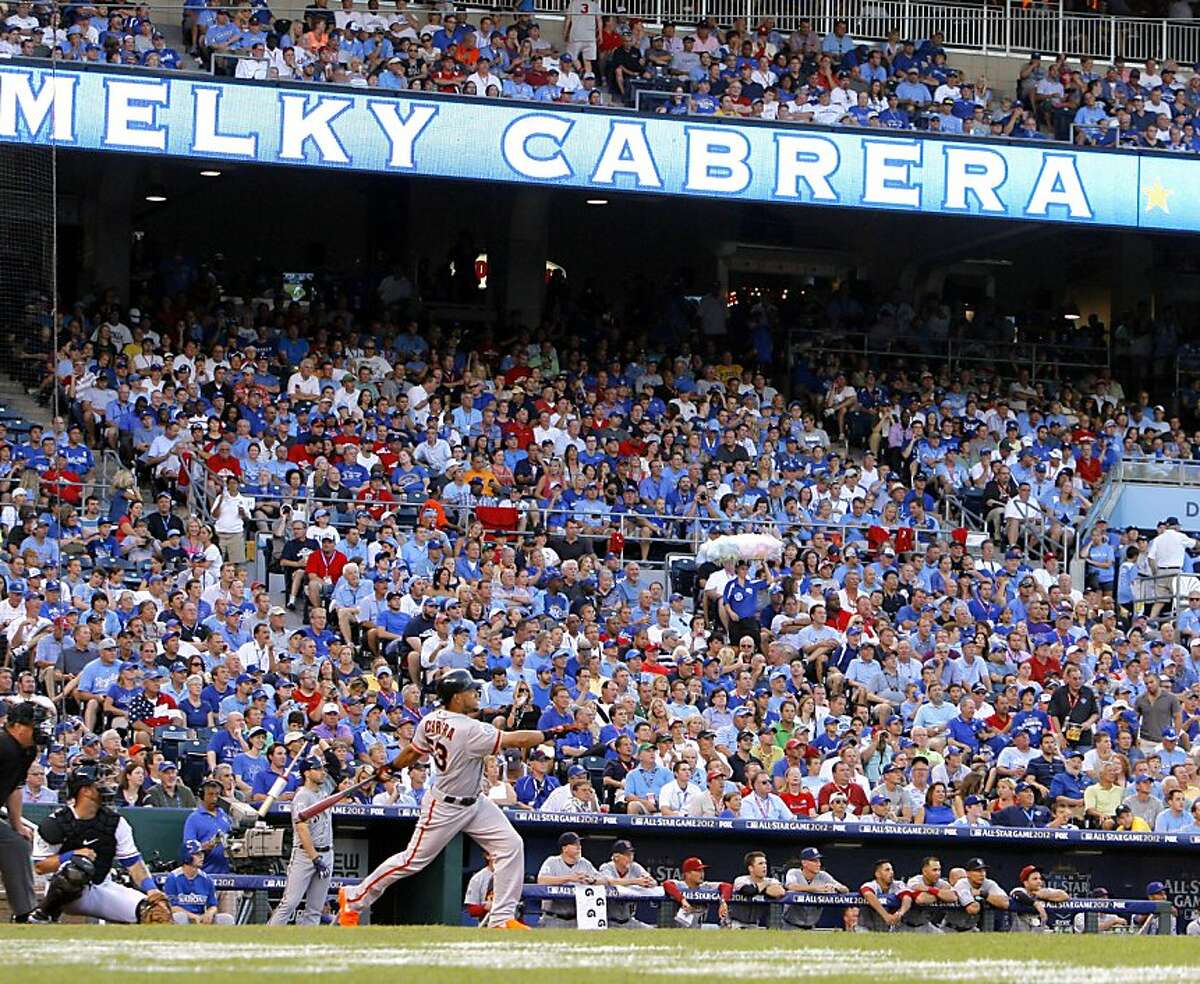 San Francisco Giants Melky Cabrera (53) watched as his ball sailed into the stands for a home run in the fourth inning during Tuesday's Major League Baseball's All-Star Game on July 10, 2012, at Kauffman Stadium in Kansas City, Missouri.