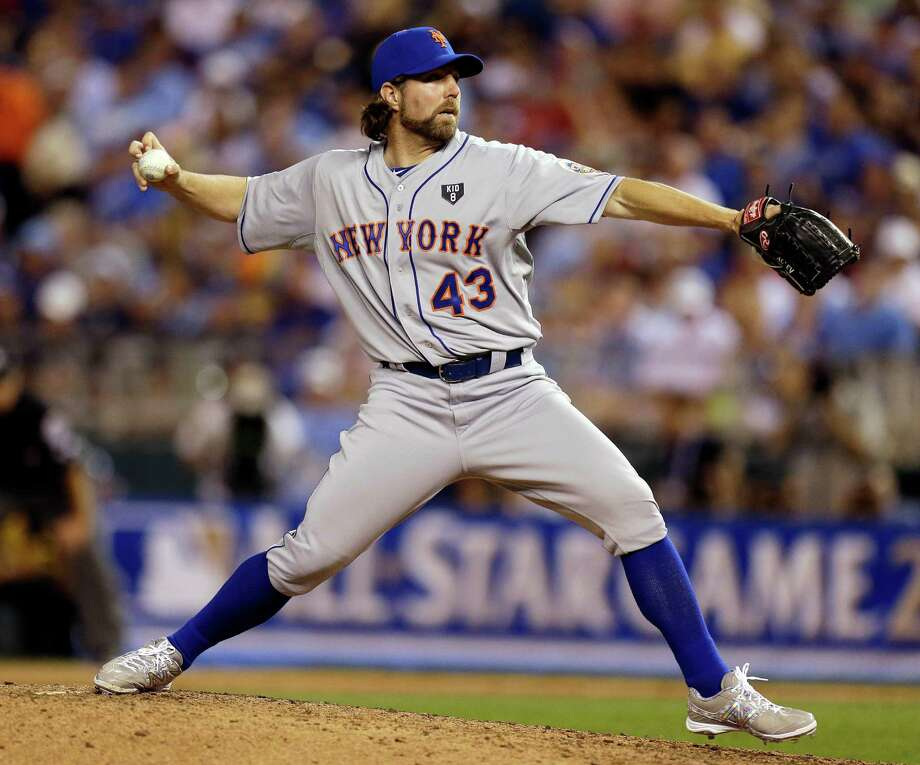 National League's R.A. Dickey, of the New York Mets, delivers against the American League during the sixth inning of the MLB All-Star baseball game, Tuesday, July 10, 2012, in Kansas City, Mo. (AP Photo/Jeff Roberson) Photo: Jeff Roberson