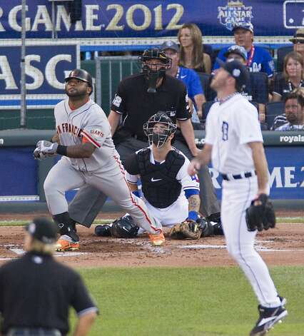 The San Francisco Giants' Pablo Sandoval (48) watches the flight of his three-run triple in the first inning in the MLB All-Star Game on Tuesday, July 10, 2012, at Kauffman Stadium in Kansas City, Missouri. (Mike Ransdell/Kansas City Star/MCT) Photo: Mike Ransdell, McClatchy-Tribune News Service