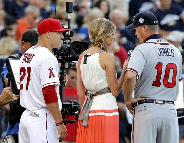 Mike Trout, left, of the Los Angeles Angels and Chipper Jones (10) of the Atlanta Braves talk with the media before the MLB All-Star Game on Tuesday, July 10, 2012, at Kauffman Stadium in Kansas City, Missouri. (John Sleezer/Kansas City Star/MCT) Photo: John Sleezer, McClatchy-Tribune News Service
