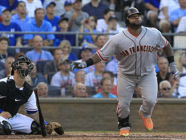 The San Francisco Giants' Pablo Sandoval watches the flight of his triple in the first inning in the MLB All-Star Game on Tuesday, July 10, 2012, at Kauffman Stadium in Kansas City, Missouri. (Rich Sugg/Kansas City Star/MCT) Photo: Rich Sugg, McClatchy-Tribune News Service
