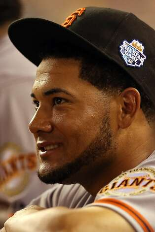 KANSAS CITY, MO - JULY 10:  National League All-Star Melky Cabrera #53 of the San Francisco Giants smiles from dugout in the ninth inning during the 83rd MLB All-Star Game at Kauffman Stadium on July 10, 2012 in Kansas City, Missouri.  (Photo by Jonathan Daniel/Getty Images) Photo: Jonathan Daniel, Getty Images