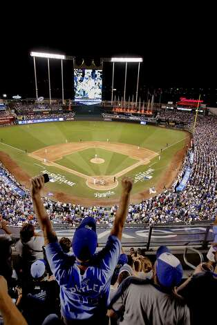Fans cheer as the Kansas City Royals' Billy Butler comes to bat in the seventh inning in the MLB All-Star Game on Tuesday, July 10, 2012, at Kauffman Stadium in Kansas City, Missouri. (Keith Myers/Kansas City Star/MCT) Photo: Keith Myers, McClatchy-Tribune News Service
