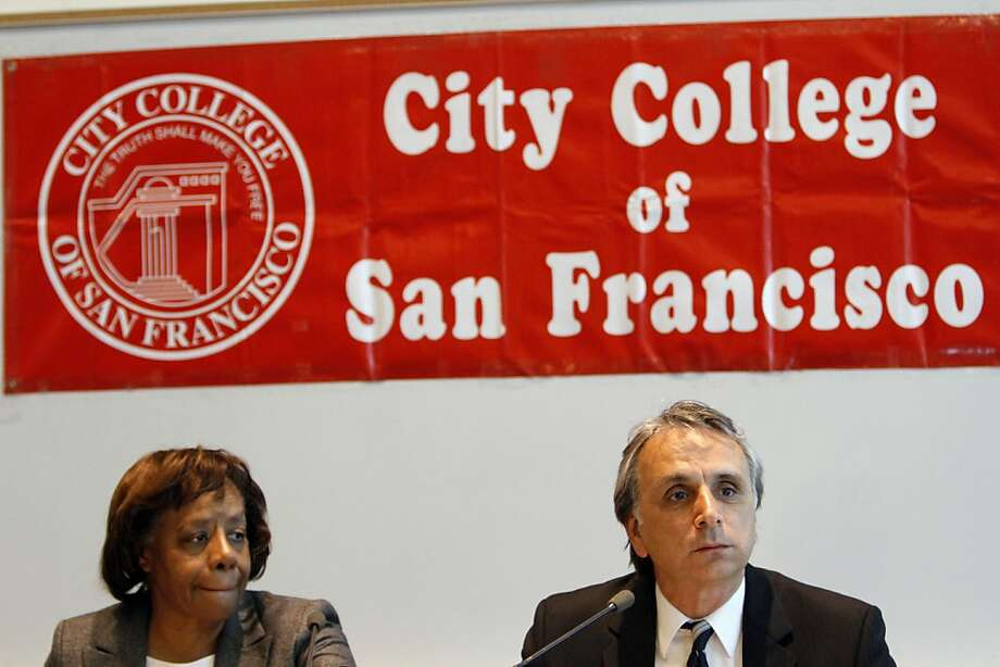 City College of San Francisco Board of Trustees president John Rizzo, right, and vice president Dr. Anita Grier, left, listen during their meeting in San Francisco, Calif., Tuesday, July 10, 2012.  Interim chancellor Pamila Fisher and the Board of Trustees heard from the public and talked about the next steps to keeping the school open after the Accrediting Commission's announcement that the school is so poorly run it needs to prove why it should stay open. Photo: Sarah Rice, Special To The Chronicle