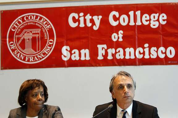 City College of San Francisco Board of Trustees president John Rizzo, right, and vice president Dr. Anita Grier, left, listen during their meeting in San Francisco, Calif., Tuesday, July 10, 2012.  Interim chancellor Pamila Fisher and the Board of Trustees heard from the public and talked about the next steps to keeping the school open after the Accrediting Commission's announcement that the school is so poorly run it needs to prove why it should stay open.