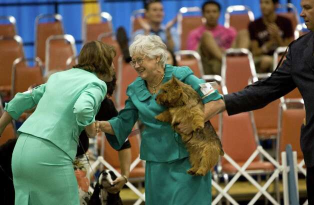 Handler Brenda Combs (center) holds Pokey, a Norwich Terrier, as she is congratulated by other handlers after Pokey was named Best in Show at the River City Cluster of Dog Shows on June 17, 2010 at the Convention Center. Photo: San Antonio Express-News File Photo / iaguirre@express-news.net