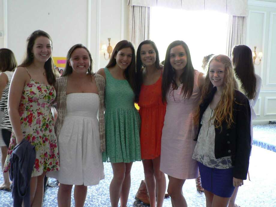 The New Canaan Chapter of the National Charity League honored its graduating senior class at a recognition luncheon. Above, Meaghan Walsh, Catherine Keeffe, Grace Duncan, Krissy Parrett, Erika Jensen and Kelly Blaylock were among those honored. July 13, 2012, New Canaan, Conn. Photo: Contributed Photo