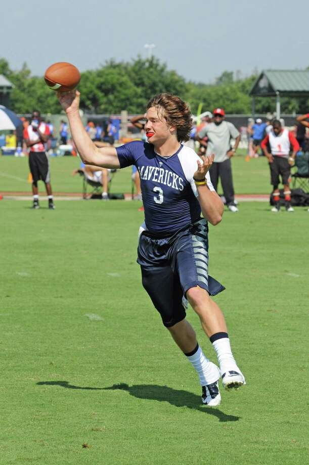 Manvel 2012 senior quarterback Shane McCarley (3) during the Houston Texans 7-on-7 State Qualifying Tournament on May 19, 2012. The Mavericks won the season-opening 7-on-7 event to qualify for state. Photo: L. Scott Hainline / The Chronicle