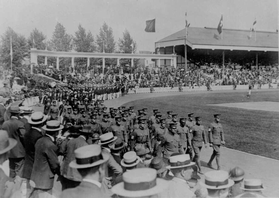 Olympics held at the Antwerp Stadium, showing the US contingent leading all the athletes in the procession around the field on August 26, 1920, after which they proceeded to lead all competition in the athletic events. Photo: AP / 1920 AP