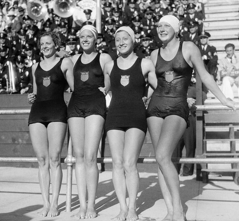 The 400 meter relay swimming event was won by the USA, August 14, 1932, in Los Angeles, Calif.. Left to right are; Josephine McKim, Helen Johns, Eleanor Garrati Saville, and Helene Madison. The time was four minutes and 38 seconds. Photo: AP / 1932 AP