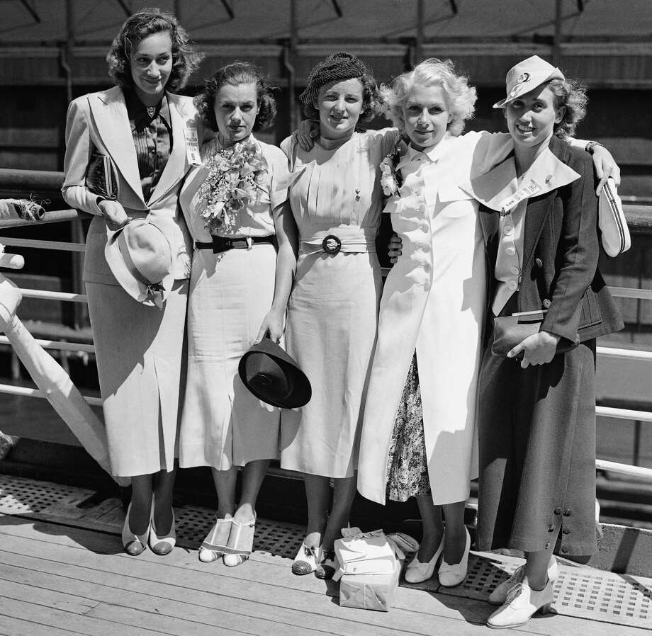 Photographed is the Womens Swimming Team as they sailed July 15, 1936 on the Manhattan for Berlin and the Olympic Games. Left to right are; Edith Mobridge, Eleanor Holm Jarrett, Katherine Rawls, Dorothy Poynton Hill, Lenore Kight Wingard.  Photo: ASSOCIATED PRESS / AP1936