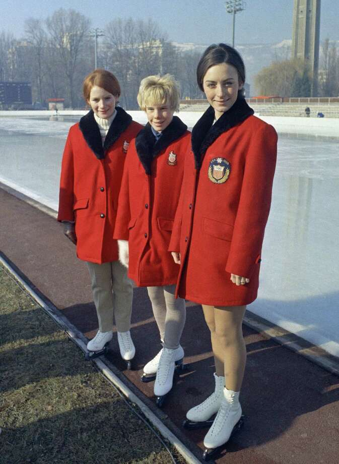 U.S. figure skaters from left to right are: Tina Noyes, Janet Lynn Nowicki and Peggy Fleming in Grenoble, France on Jan. 31, 1968. Photo: Anonymous, AP / AP1968