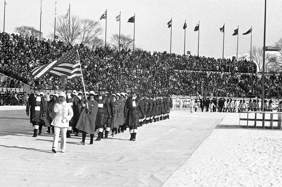 The team of the United State of America for the Winter Olympic Games march into the arena of the Makomanai Stadium at start of the colorful opening ceremonies, Thursday, Feb. 3, 1972, Sapporo, Japan. Photo: Anonymous, AP / 1972 AP