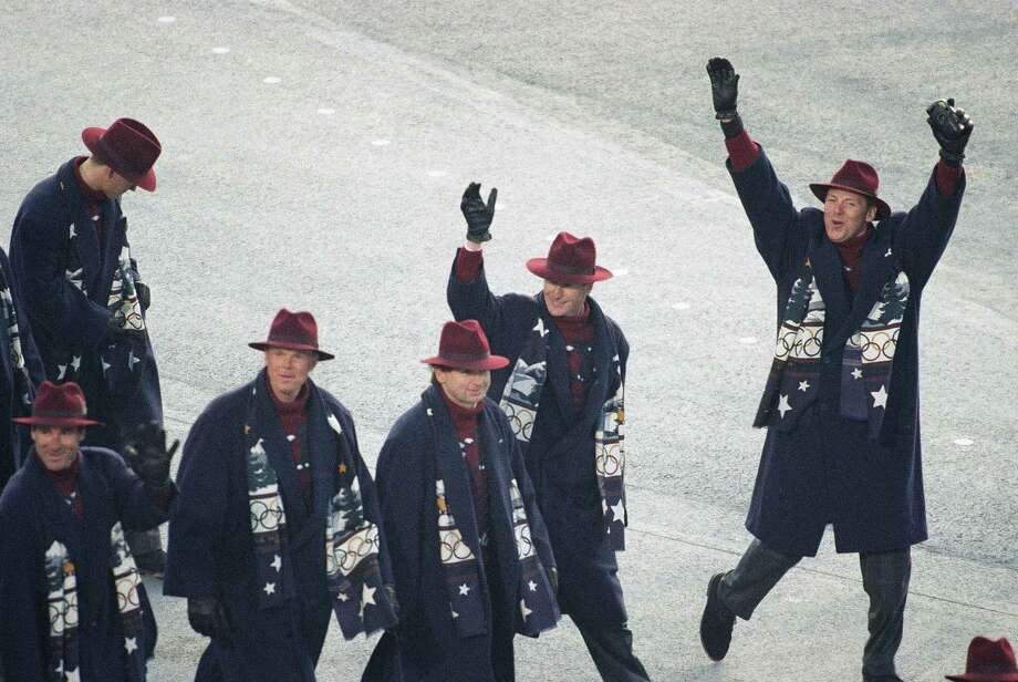 Unidentified members of the United States Winter Olympics team wave to the crowd during the opening ceremony of the XVI Winter Olympic Games, Saturday, Feb. 8, 1992 in Albertville, France. Photo: John Gaps, AP / 1992 AP