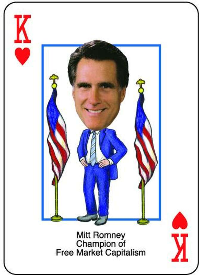 The king of hearts from the Mitt Romney Presidential Playing Cards is, no surprise, Romney himself. Photo: .