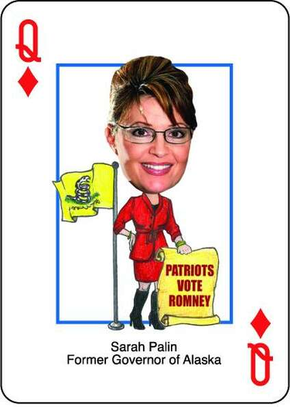 Sarah Palin is the queen of diamonds in the Romney Presidential Playing Cards.