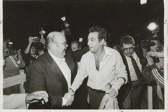 wayback07_2774.jpg  San Francisco Opera General Manager Terence McEwen (left) greets Placido Domingo in September 1983, after the singer flew in to replace a tenor who had lost his voice.  Chris Stewart / 1983
