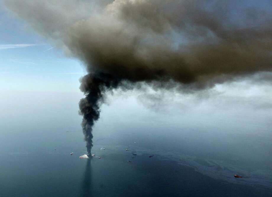 FILE - In this April 21, 2010, file photo, the Deepwater Horizon oil rig burns in the Gulf of Mexico. Sony Electronics and the Nielsen television research company collaborated on a survey ranking TV's most memorable moments. Other TV events include, the Sept. 11 attacks in 2001, Hurricane Katrina in 2005, the O.J. Simpson murder trial verdict in 1995 and the death of Osama bin Laden in 2011. (AP Photo/Gerald Herbert, File) Photo: Gerald Herbert, Associated Press / AP2010