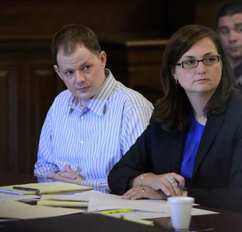 Defendant Scott Chaplin and second chair Sarah Burger, right, listen to opening arguments in the Crosier murder case in Rensselaer County Courthouse in Troy, N.Y. July 12, 2012. (Skip Dickstein / Times Union archive) Photo: SKIP DICKSTEIN / 00018403A