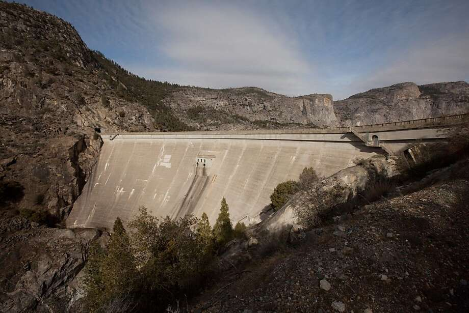 O'Shaughnessy Dam has stored water from the Tuolumne River, and inundated the Hetch Hetchy Valley, since 1923. Photo: Tomas Ovalle, Special To The Chronicle
