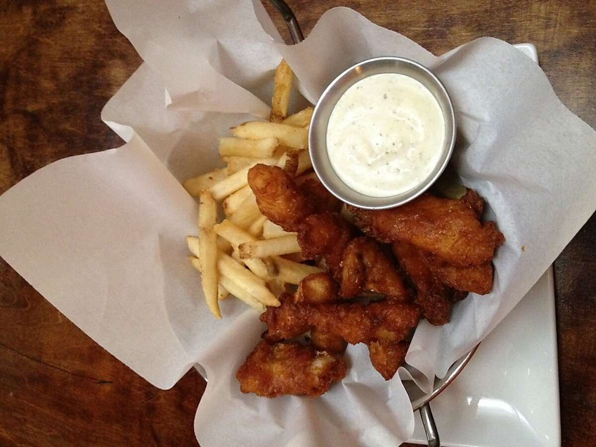 Lot 7 serves a tangy gribiche sauce with its fish and chips.