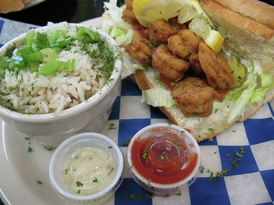 A shrimp po'boy  is served with gumbo at Big Easy Café. Photo: Jennifer McInnis, San Antonio Express-News