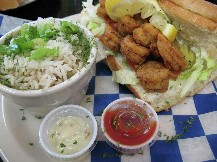 A shrimp po'boy is served with gumbo at Big Easy Café. Photo: Jennifer McInnis, San Antonio Express-News