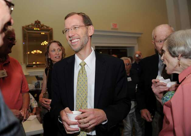 Douglas W. Elmendorf, the director of the Congressional Budget Office, speaks with the members of the Retired Men's Association at the First Presbyterian Church Wednesday, July 11, 2012. Photo: Helen Neafsey / Greenwich Time