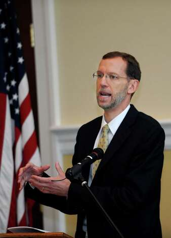 Douglas W. Elmendorf, the director of the Congressional Budget Office, speaks at the Retired Men's Association meeting at the First Presbyterian Church Wednesday, July 11, 2012. Photo: Helen Neafsey / Greenwich Time
