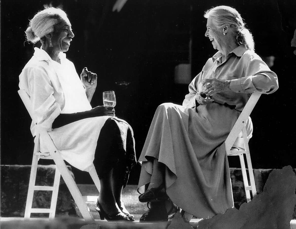 Chefs Edna Lewis And Marion Cunningham conversing together at Beringer Winery in St. Helena.