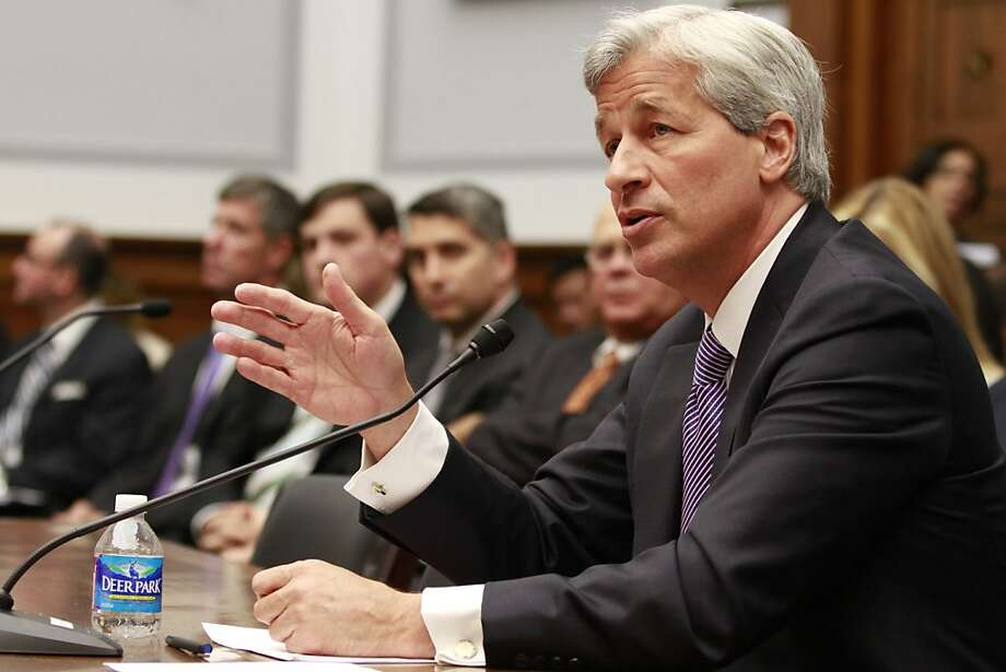 Jamie Dimon, CEO of JPMorgan Chase, testifies before the House Financial Services Committee on Capitol Hill in Washington, on Tuesday, June 19, 2012. (AP Photo/Jacquelyn Martin) Photo: Jacquelyn Martin, Associated Press