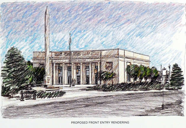 A rendering of the proposed front entry to the former Greenwich Avenue post office that is being leased to Restoration Hardware. Photo: Bob Luckey / Greenwich Time