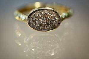 Pave set diamonds in oxidized sterling with a 14 karat band is at Mabel Chong on Union Street on Thursday, June 28, 2012 in San Francisco, Calif.