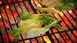 Bok choy being grilled at Comal Restaurant in Berkeley.