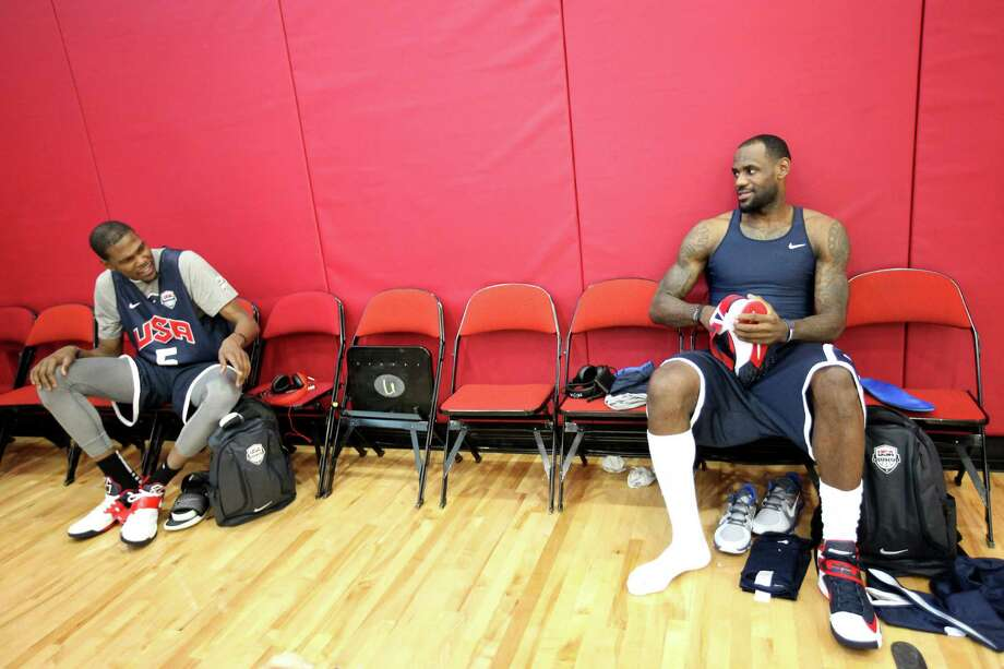 Oklahoma City's Kevin Durant (left) is playing nice with Team USA teammate LeBron James. Photo: AP