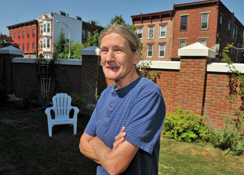 Joseph's House resident Mitch Warren in the facility's courtyard in Troy Wednesday July 11, 2012. (John Carl D'Annibale / Times Union)