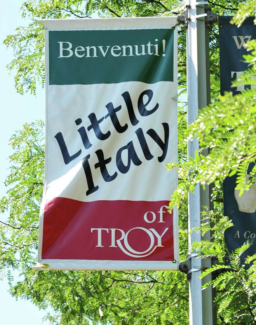 Banner in Troy's Little Italy neighborhood Wednesday July 11, 2012. (John Carl D'Annibale / Times Union)