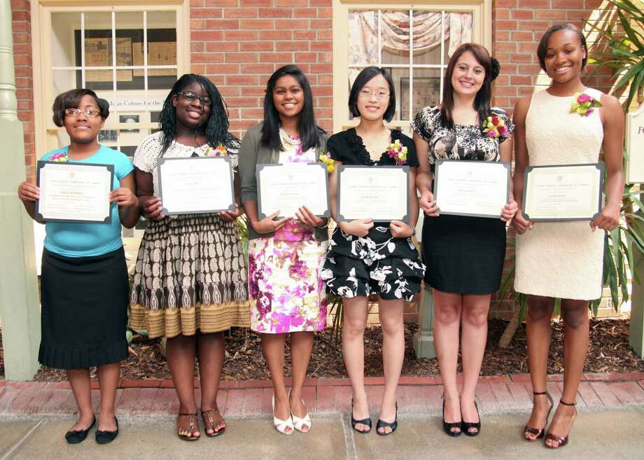 Yvonne Abunaw/Duncan Bailey The Black Women's Association of Albany presented six local minority high school girls with college scholarships. Winners are, from left, Geneva McPhearson, Shelby Smith, Jennifer Chauhan, Jacqueline Hsia, Skye Cardona and Cydney Betton.