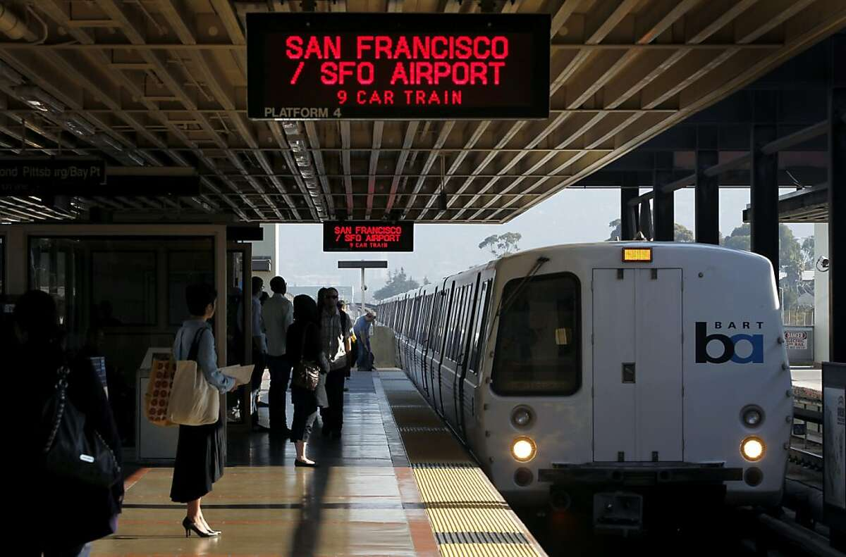 A San Francisco-bound train pulls into the MacArthur BART station in Oakland. Air quality officials declared a