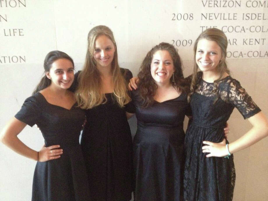 Hannah Caldwell, third from left, is the first Darien student to perform with the All-National Honors Chorus in Washington, D.C. She is pictured with fellow chorus members. July 13, 2012, Darien, Conn. Photo: Contributed Photo