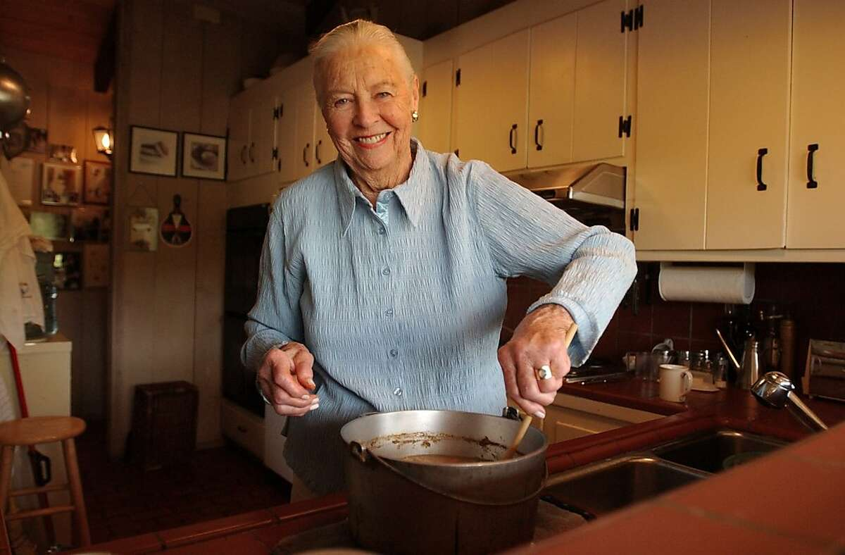 FILE - This May 27, 2004 file photo shows Marion Cunningham, a venerated figure in the food world, at home in Walnut Creek, Calif. Cunningham, the home-cooking champion whose legacy can be found in the food-spattered pages of