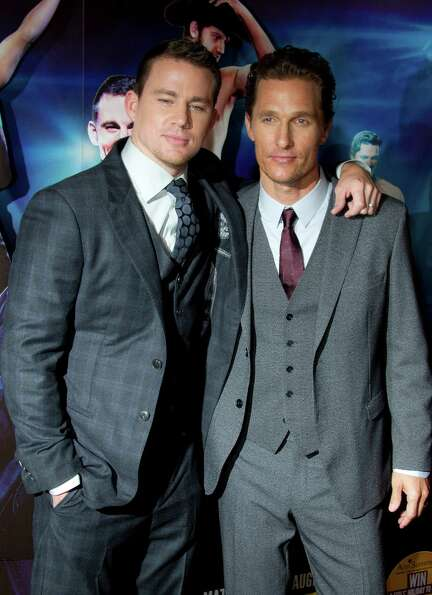 U.S actors Channing Tatum, left, and Matthew McConaughey arrive at a special film screening of 'Magi