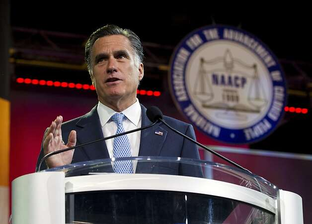 Republican presidential candidate, former Massachusetts Gov. Mitt Romney gestures during a speech to the NAACP annual convention in Houston, Wednesday, July 11, 2012.  (AP Photo/Evan Vucci) Photo: Evan Vucci, Associated Press