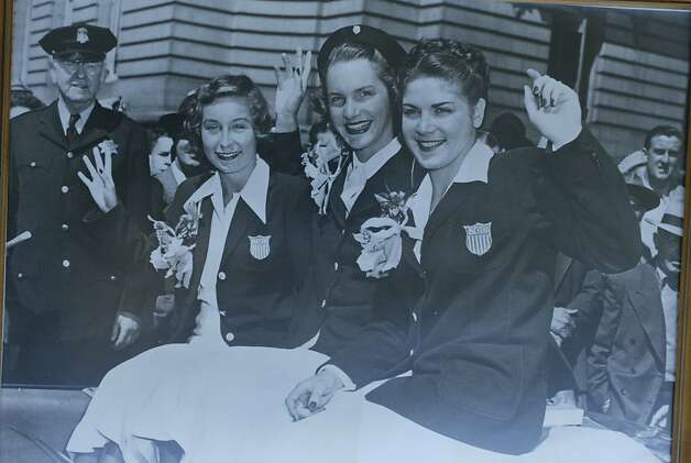 Ann Curtis Cuneo, center, along with fellow Olympians Barbara Jensen, left, and Patty Eisener Homan, is honored with a parade on Market Street in San Francisco after winning two gold medals and one silver in the 1948 Olympic Games in London.  Photo: Chronicle File Photo